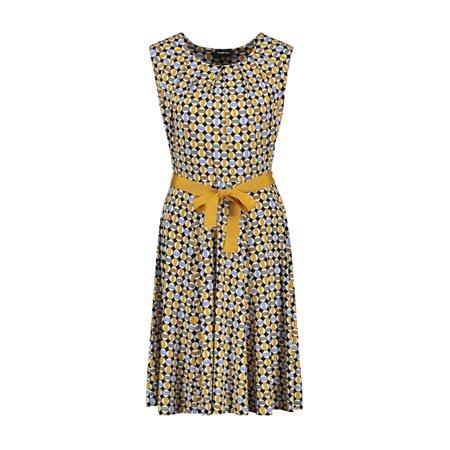 Taifun Geometric Print Dress Saffron  - Click to view a larger image