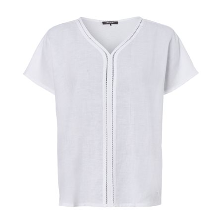 Olsen Short Sleeve Linen Top White  - Click to view a larger image
