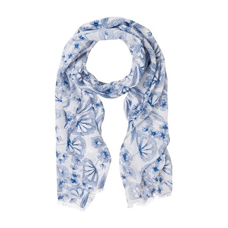 Olsen Flower Print Scarf Blue  - Click to view a larger image