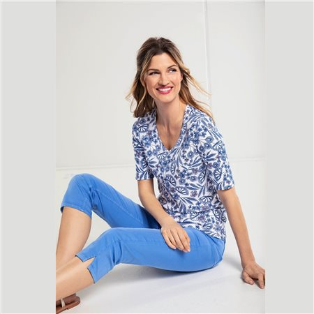 Olsen V Neck 1/2 Sleeve Top Blue  - Click to view a larger image