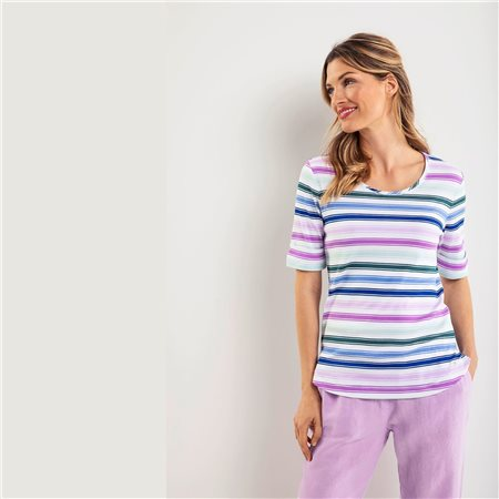 Olsen Multi Colour Stripe Top Purple  - Click to view a larger image