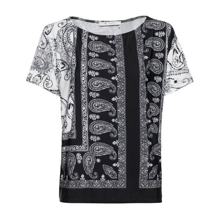 Monari Paisley Print Top Black  - Click to view a larger image