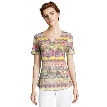 Betty Barclay Bright Ethnic Print Top Yellow  - Click to view a larger image