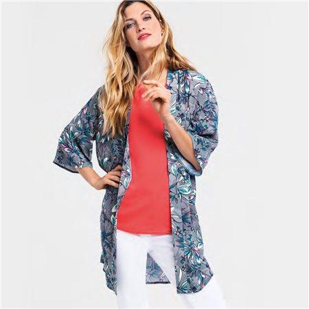 Olsen Leaf Print Kimono Khaki  - Click to view a larger image