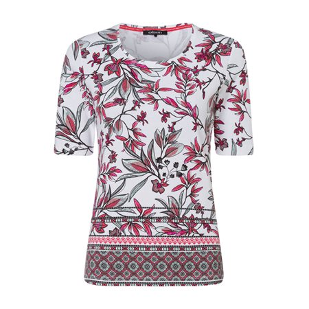 Olsen 1/2 Sleeve Leaf Print Top Raspberry  - Click to view a larger image
