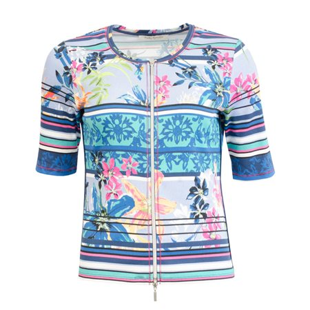 Betty Barclay Floral Print Cardigan Blue  - Click to view a larger image