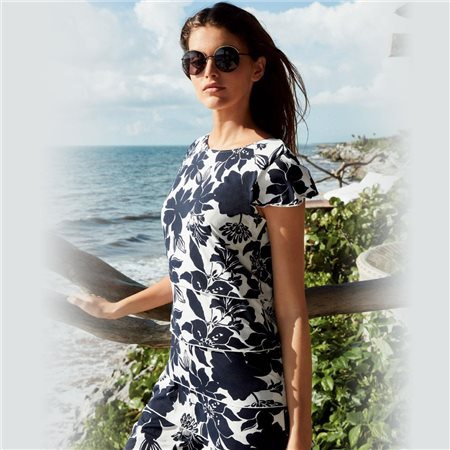 Betty Barclay Floral Print Jersey Dress Navy  - Click to view a larger image