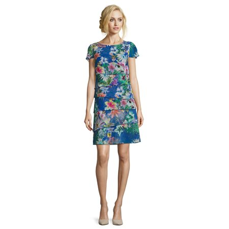 Betty Barclay Floral Print Dress Blue  - Click to view a larger image