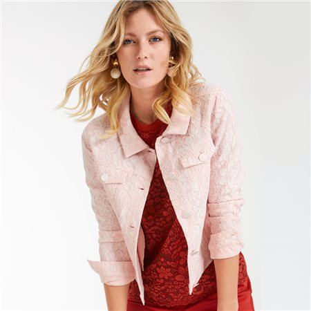 Taifun Lace Denim Jacket Pink  - Click to view a larger image
