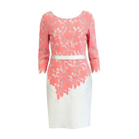 Linea Raffaelli Floral Lace Overlay Dress Coral Jonzara