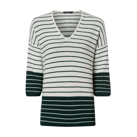 Olsen Striped Cotton Pullover Off White  - Click to view a larger image