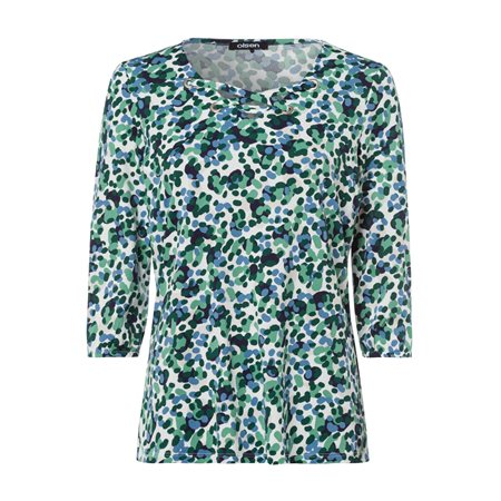 Olsen Printed Criss Cross Top Green  - Click to view a larger image