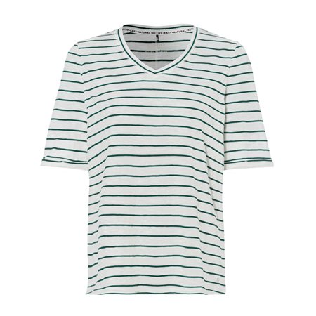 Olsen Striped Cotton T Shirt Off White  - Click to view a larger image
