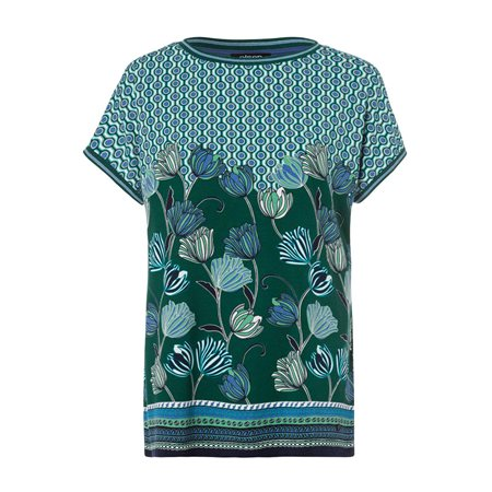 Olsen Abstract Floral Print Top Green  - Click to view a larger image