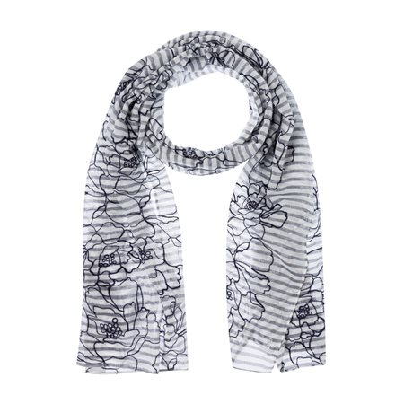 Olsen Emroidered Floral Scarf Navy  - Click to view a larger image