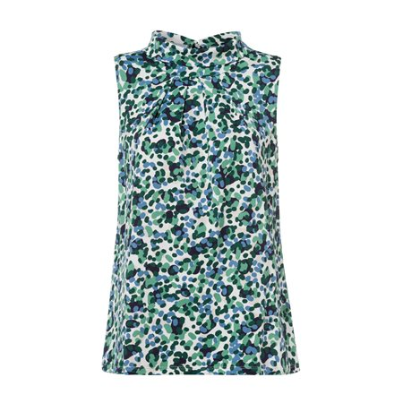 Olsen Sleeveless Printed Blouse Green  - Click to view a larger image
