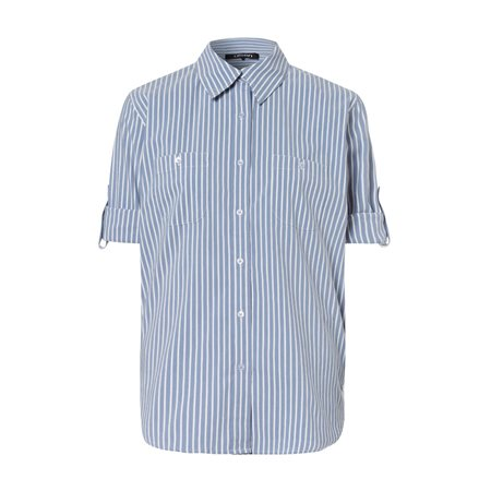 Olsen Striped Cotton Shirt Blue  - Click to view a larger image