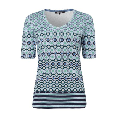 Olsen Abstract Circle Print Top Blue  - Click to view a larger image