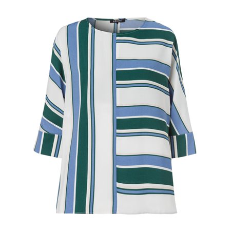 Olsen Striped Colourblock Blouse Green  - Click to view a larger image