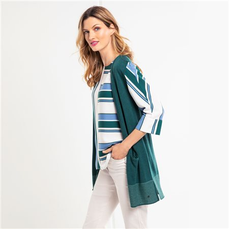 Olsen Fine Knit Waistcoat Green  - Click to view a larger image