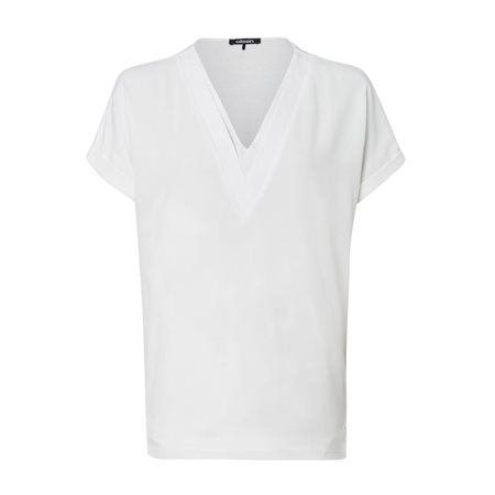 Olsen V Neck Blouse Off White  - Click to view a larger image
