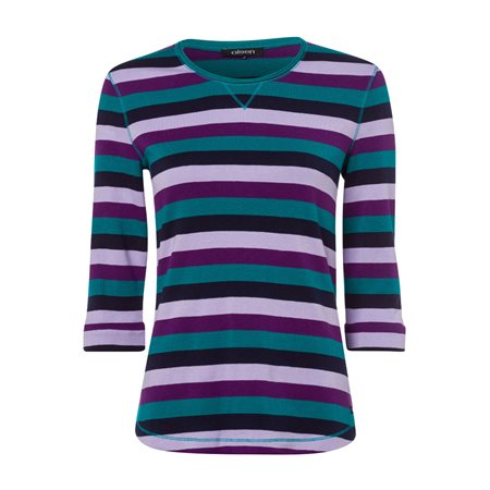 Olsen Striped T Shirt With 3/4 Sleeve Green  - Click to view a larger image