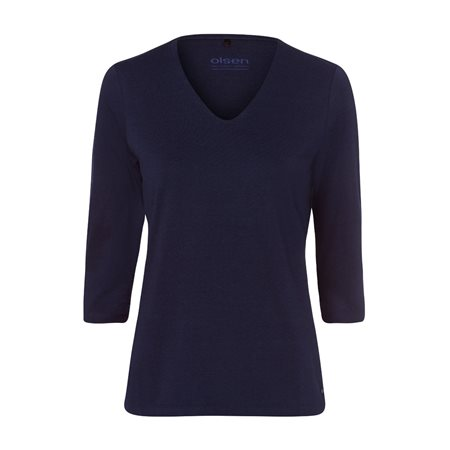 Olsen V Neck Top With 3/4 Sleeve Navy  - Click to view a larger image