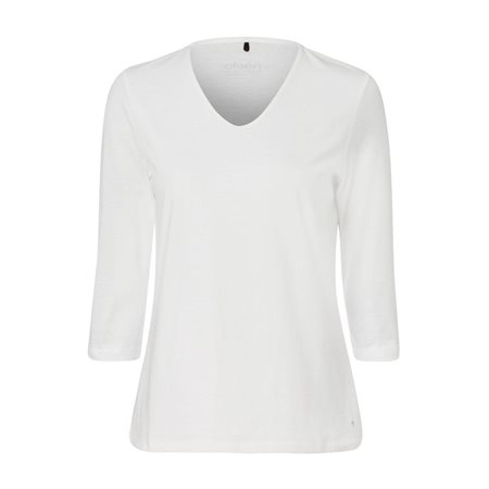 Olsen V Neck Top With 3/4 Sleeve Off White  - Click to view a larger image
