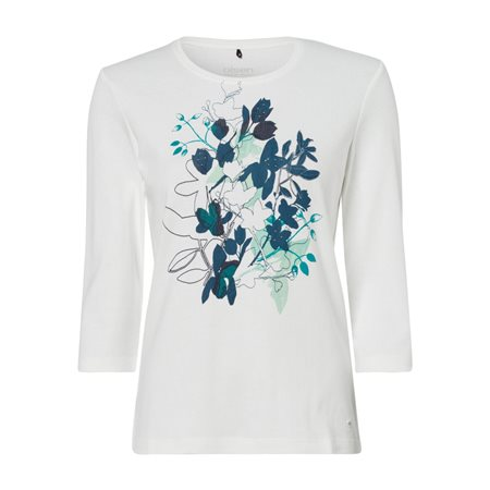 Olsen Round Neck Top With Flower Print Off White  - Click to view a larger image
