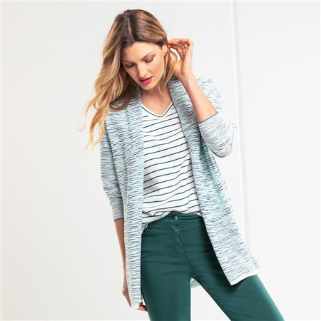 Olsen Cardigan With Parallel Structure Green  - Click to view a larger image