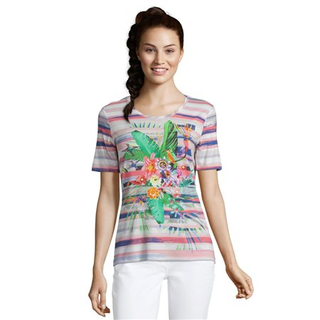 Betty Barclay Abstract Floral Print Top Red  - Click to view a larger image
