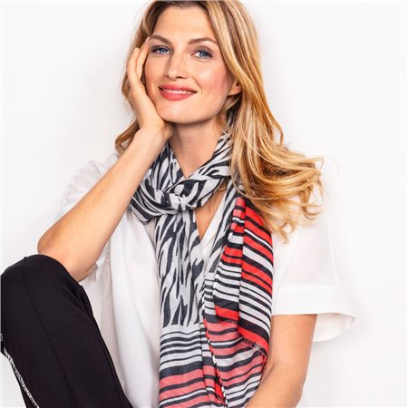 Olsen Zebra Pattern Scarf Black  - Click to view a larger image