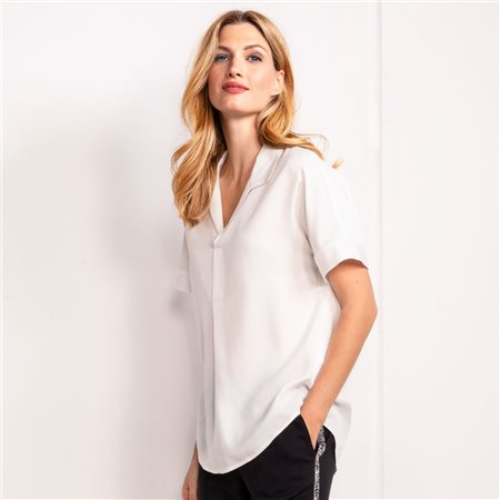 Olsen Blouse Top With Shirt Collar Off White  - Click to view a larger image