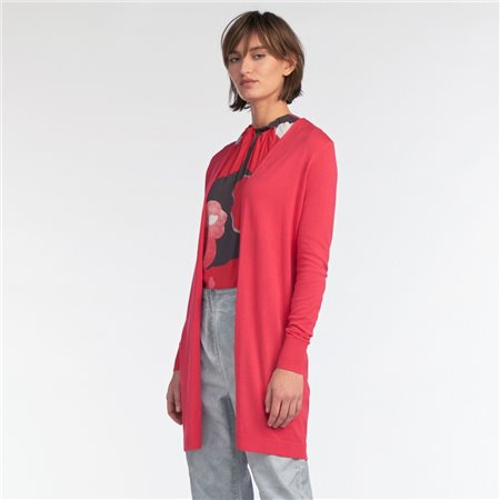 Sandwich Mid Length Open Cardigan Pink  - Click to view a larger image