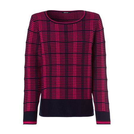 Olsen Round Neck Jumper With Colour Block Stripes Navy  - Click to view a larger image