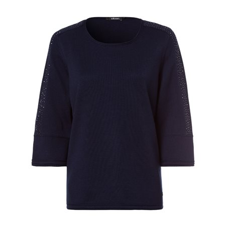 Olsen Round Neck Jumper With Decorative Stones Navy  - Click to view a larger image