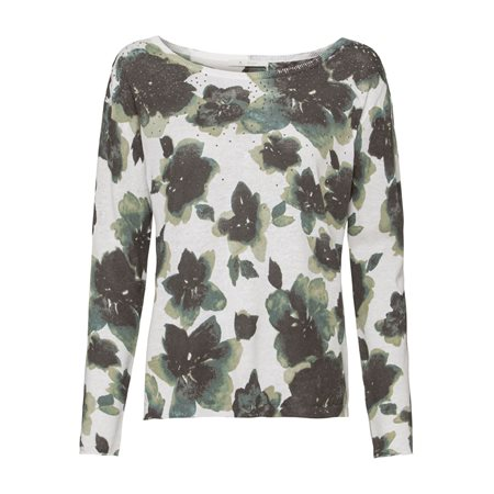 Monari Water Colour Floral Print Jumper Olive  - Click to view a larger image