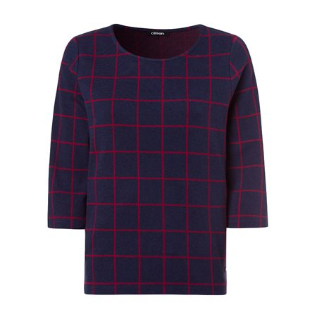 Olsen Large Check Jumper Navy  - Click to view a larger image