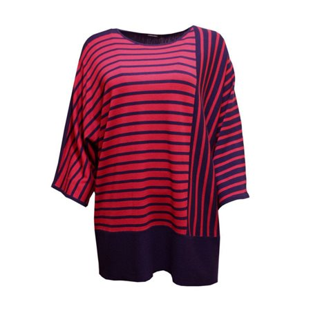 Olsen Stripe Pattern Knit Jumper Navy  - Click to view a larger image