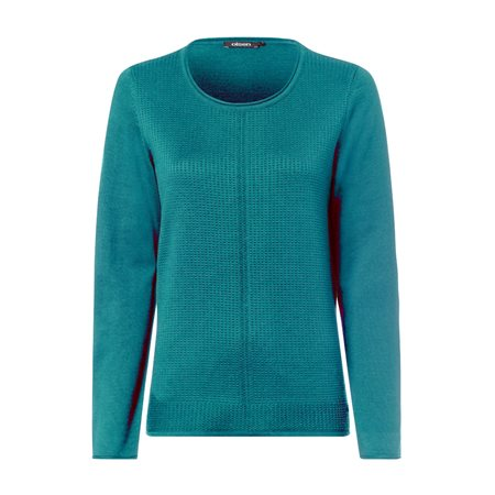 Olsen Roundneck Waffle Texture Jumper Green  - Click to view a larger image