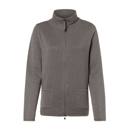 Olsen Waffle Zip Cardigan Grey  - Click to view a larger image