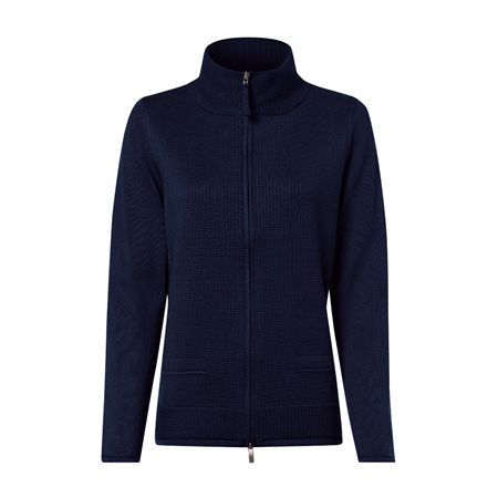 Olsen Waffle Zip Cardigan Navy  - Click to view a larger image