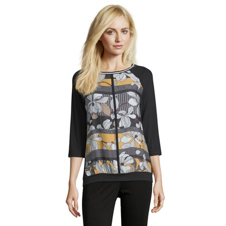 Betty Barclay Bold Floral Print Top Black  - Click to view a larger image