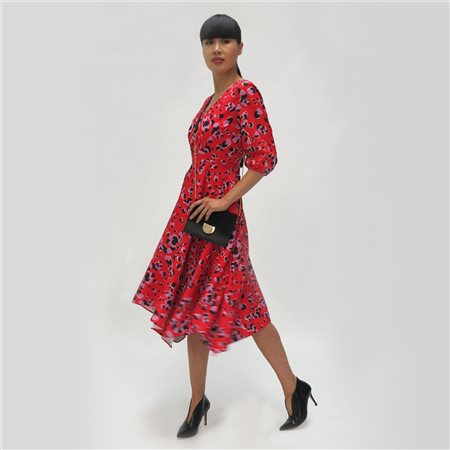Fee G Animal Printed Swing Dress Red  - Click to view a larger image
