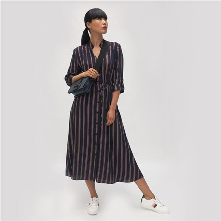 Fee G Striped Shirt Dress Navy  - Click to view a larger image