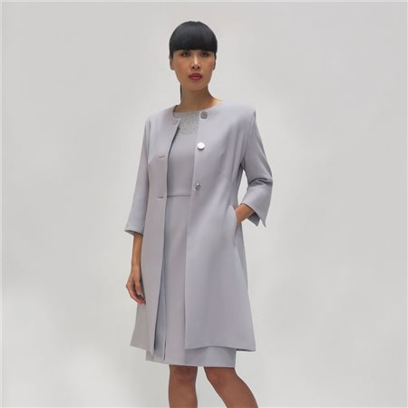 Fee G Buttoned Dress Coat Grey  - Click to view a larger image