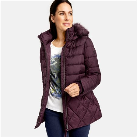 Gerry Weber Quilted Coat With Faux Fur Hood Plum  - Click to view a larger image