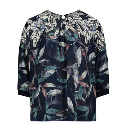 Betty & Co High Neck Leaf Design Blouse Navy  - Click to view a larger image