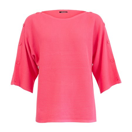 Olsen Jumper With Button Placket On Shoulder Pink  - Click to view a larger image