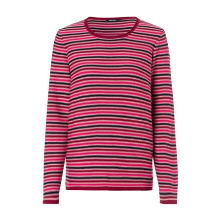 Olsen Round Neck Jumper With Stripe Design Red  - Click to view a larger image